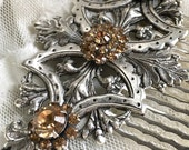 Large Antiqued Silver and Champagne Swarovski Crystal Hair Comb