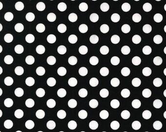 Spot On Black Polka Dots Robert Kaufman Fabric, Choose your cut