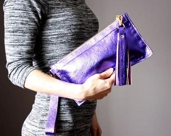 Metallic Clutch, ROYAL PURPLE Clutch, Leather Clutch Purse, leather Purse, metallic Evening Bag , zipper poch, leather tassel