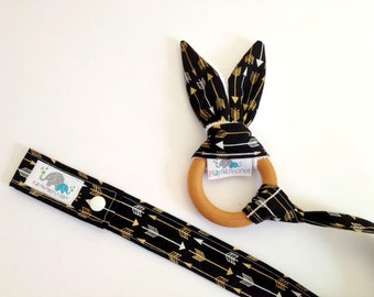 Organic Teether | Baby Teether | Bunny Teething Ring and Toy Strap COMBO: Arrows on Black