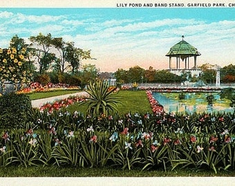 Vintage Chicago Postcard - Lily Pond and Band Stand in Garfield Park (Unused)