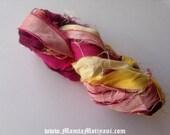 Spring Yarn, Bright Colored Ribbon Yarn, Variegated Sari Ribbon Yarn, Pink Yellow Ribbon Yarn, Recycled Sari Silk Yarn, Spring Yarn