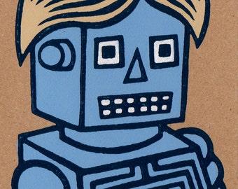 Wiggy Robot. Linocut Greeting Card.