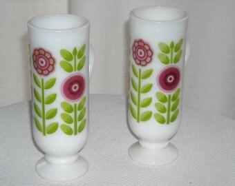 vintage  - small pedestal mugs - demitasse-like - milk glass with floral print