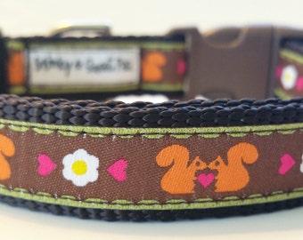 Little Squirrels - Dog Collar / Handmade / Adjustable / Pet Accessories / Small dog Collar / Pet Lover / Gift Idea