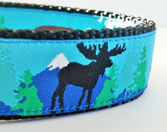 Into the Wilderness - Dog Collar / Moose / Handmade / Adjustable / Bear / Forest / Outdoors