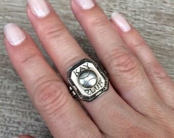 Vintage Sports Signet Ring Sterling Silver Baseball Ring 1937 KAY CLUB