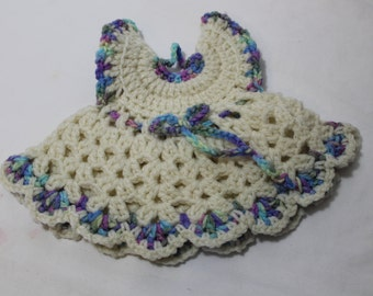 NEW Hand Crocheted Baby Dress Wall Hanging, Doll Dress, Trivet, Ivory & Multi Colored