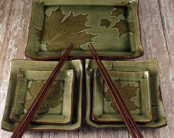 Sushi Set for Two - Ceramic Pottery Sushi Set - Handmade Stoneware Pottery Plate Set - Maple Leaves - Green - 935