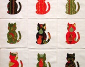 Christmas Cats Appliqued Quilt Blocks