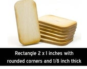 Unfinished Wood Rectangle - 2 inches tall by 1 inch wide and 1/8 inch thick with rounded corners (RTRD01)