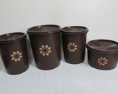 Tupperware Canisters Set of 4 Dark Chocolate Brown
