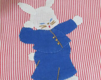 Vintage Baby Bibs Hand Appliqued Dog and Bunny
