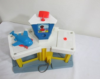Fisher Price Airport Little People 1980s with a Little Blue Airplane