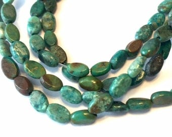 small REAL TURQUOISE ovals full strand 5 x7 mm