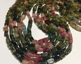 Watermelon tourmaline tiny rectangles whole strand