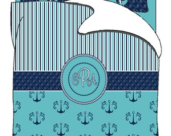 Anchors & Stripes Bedding Set -Available Twin-TWXL-Queen- King  size - any color