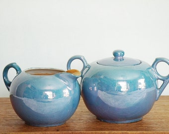 Blue Lustreware, Lusterware sugar bowl and creamer, vintage sugar & cream lustreware set, periwinkle blue creamer and sugar bowl with lid