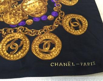 Faux Chanel Silk Scarf Vintage 1980s