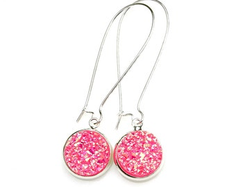 Druzy Earrings Hot Summer Pink Bubble Gum Rainbow Sparkle Shimmer Luster Silver Long Dangles High Fashion Style Modern Style by Mei Faith