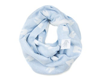 Wisdom Tooth Infinity Scarf - Hand Printed Sweatshirt Fleece Circle Scarf in Heather Light Menthe Blue and White Q