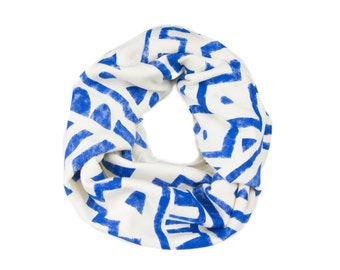 Tribal Stamp Infinity Scarf - Hand Printed Sweatshirt Fleece Circle Scarf in Heather Porcelain & Cobalt Blue Q