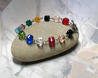 Coloured Glass Cube Bracelet - Toggle With Hearts - Delicate and Divine - Plus a BONUS