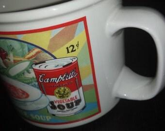 VINTAGE 1990s Retro Campbell's Soup Company Rare Antique 1920s Streetcar Advertising & Soup Girl Collectible Giant Mug Bowl Cup w/Handle EUC