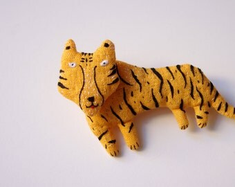 Tiger.  Brooch.  Pin.