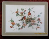 8 Vintage Pimpernel Rectangular Placemats, 15.75x11.75 Inches, Robin's Nest, Two Birds on a Nest, Branch with Blossoms and Nest, Gently Used