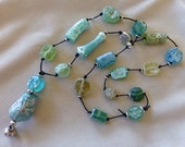 Ancient Roman Glass, Leather and Silver Long Knotted Neckace