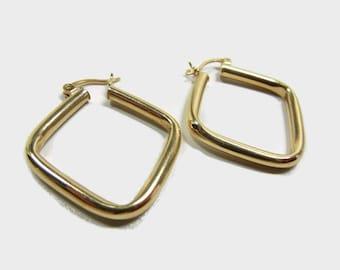 Squared hoop earrings in 14k gold / high polish gold tubing / gold earrings for wedding / Gold hoops / mothers day / Diamond shape