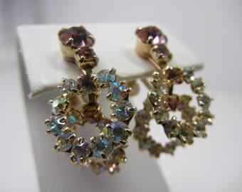 Rhinestone Dangle Earrings / screw back / aurora borealis white rhinestones / lavender tops / unmarked vintage earrings / Formal / wedding