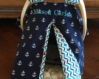 Baby Car Seat Cover - Navy Anchor with Navy-Teal Chevron - All Cotton - & Boy car seat canopy | Etsy