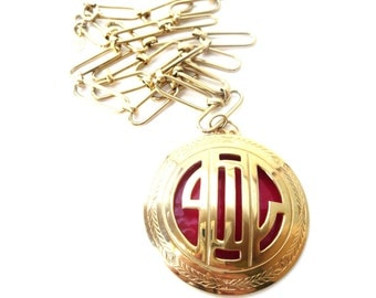 Signed Park Lane Vintage Gold Tone Metal Large Link Chain & Red Enamel Hollow Medallion Statement Pendant Necklace