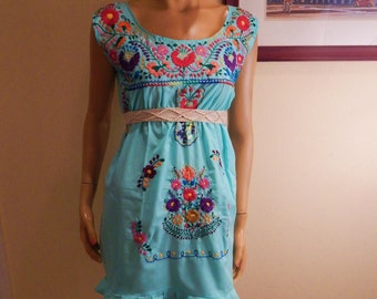 Mexican Dress, embroidered dress, womens handmade dress