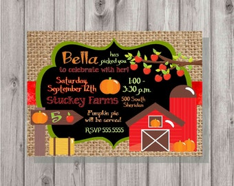 Digital Chalkboard & Burlap Style Boy or Girl Fall Harvest Apple and Pumpkin Orchard Picking Birthday Party Invitation Printable