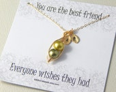 Best Friends Necklace, Two Or Three Peas In A Pod necklace Shades Of Green Personalized Necklace