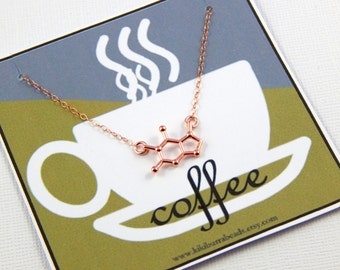 Coffee Necklace, Coffee Molecule, Caffeine Molecule Necklace, Molecule Jewelry, Molecular Jewelry