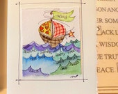 "Wish Boat Watercolor Original ""Big Card"" 5x7 With Matching Envelope  betrueoriginals"