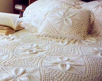 INSTANT DOWNLOAD PDF Vintage Knitting Pattern for Leaf Blanket and Cushion Throw Afghan Bedspread Pillow