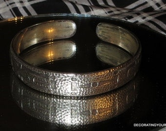Arts & Crafts Sterling Silver Camp Fire WOHELO Cuff Bracelet Armlet c1910