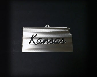 Collectors Ornament Hand Detailed State of Kansas Stainless Steel SPECIAL FREE SHIPPING