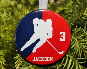 Ice Hockey Player Silhouette Christmas Ornament - team colors - customized - C088 sports athlete gift
