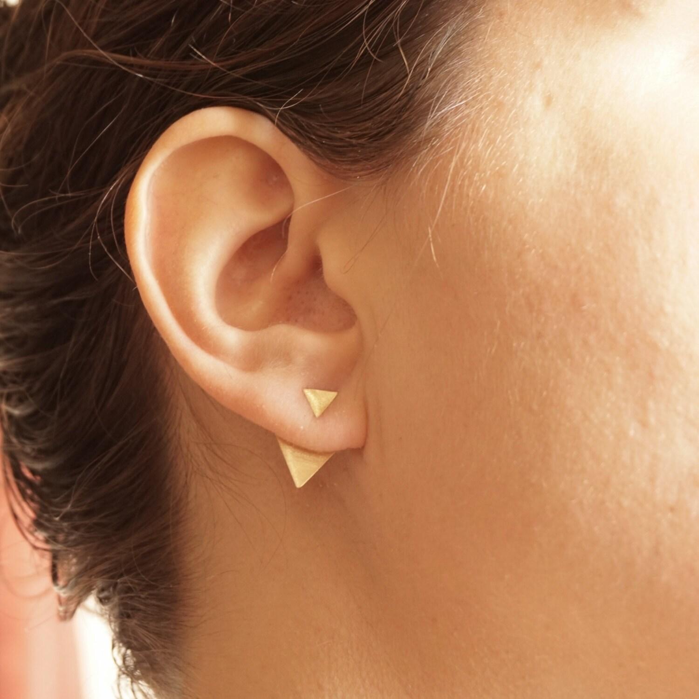 Triangle Shaped Ear Jacket Earrings Geometric Triangle Gift For Women  Statement Front Back Earring Jackets Double