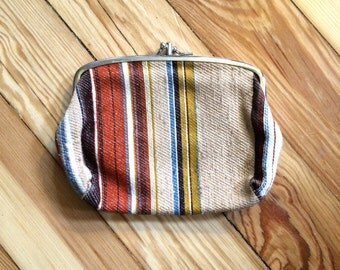 vintage 70s fabric STRIPED 2 sided coin PURSE cosmetic bag