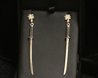 TIGER KATANA EARRINGS Sterling Silver-Japanese Swords-  Ready to Ship