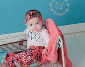 SALE-Girls Valentines Day Outfit - Happy Hearts leggings, shirt, and turban - from Mellon Monkeys