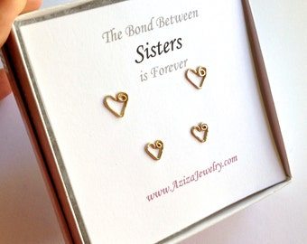 Sisters Solid Gold Heart Studs Set. 2 Pairs 14k Solid Gold Heart Studs Set in Medium and Small.