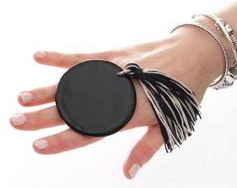 Statement Ring Adjustable Ring, big ring,  bold ring, ceramic ring, large ring, black ring, statement jewelry, handmade ring